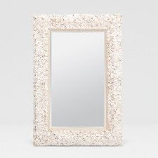 """Made Goods Abigail Mirror, small disk-size shells, sequin sprinkles, 26"""" x 38"""". Powder Room perfect."""
