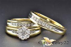 Men/Ladies 14K Yellow Gold Finish Trio Set Engagement Ring Wedding Bridal Set #giftjewelry22