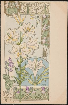 Lys Violettes by Riom.  Colour lithograph. Postcard.  Image and text courtesy MFA Boston.