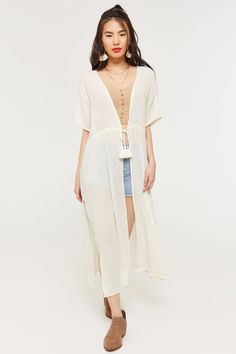 Kimonos are the perfect way to dress up a basic tee and shorts. This woven short sleeve kimono features an open front with stylish tassel drawstring. Rock it girl! Festival Fashion, Festival Style, Open Weave, Cold Shoulder Dress, Dress Up, White Dress, Short Sleeves, Stylish, My Style