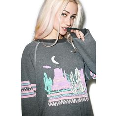 Wildfox Couture Desert Glow Kim's Sweater ($86) ❤ liked on Polyvore featuring tops, sweaters, holiday party tops, raglan sweater, patterned tops, neon sweater and patterned sweaters