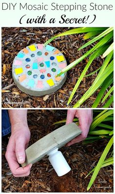 """Never get locked out of your house again with this crafty DIY project from Sadie Seasongoods! Create your own mosaic stepping stone using a repurposed cake pan, and use this resourceful tutorial to take it one """"step"""" further- with a secret key hider! Get all the upcycling details at www.sadieseasongoods.com"""