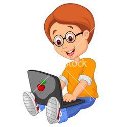Boy cartoon with laptop vector 1539793 - by tigatelu on VectorStock®
