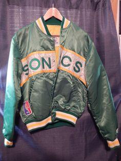 Vintage 80s Seattle Supersonics Throwback Satin Starter Jacket Large Made in USA #Starter #SeattleSupersonics