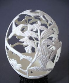Carved Ostrich Egg |Pinned from PinTo for iPad|