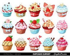 Items similar to Cupcakes clipart digital cupcake clip art cupcake digital illustration cupcake Vector birthday cakes bakery sweets frosting chocolate on Etsy Cupcake Kunst, Cupcake Art, Cupcake Ideas, Cupcake Toppers, Cupcake Pictures, Cupcake Illustration, Birthday Cake Bakery, Cupcake Clipart, Pastries