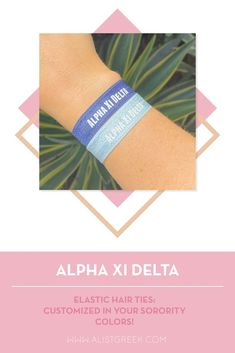 Sorority hair ties are the easiest gift for any celebration: Recruitment, Bid Day, Back to School & Big/Little. Spoil your new sorority girl with a hair tie set! Alpha Xi Delta Gifts | Alpha Xi Delta Bid Day | AXiD Hair Ties | Alpha Xi Delta New Pledge Gift | Sorority Bid Day | Sorority Recruitment | Sorority Hair Tie Gifts | Sorority College Gift | Sorority New Member Gift Ideas #SororityGifts #SororityHairTies Sorority Bid Day, College Sorority, Sorority Recruitment, Sorority Gifts, Hair Tie Bracelet, Kappa Alpha Theta, College Gifts, Elastic Hair Ties, Tie Set