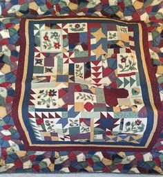 "Patchwork Throw or Lap Quilt, Machine Quilted 62"" X 75""  