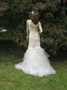 Bohemian Glam Lace Crochet Tulle One Of a Kind wedding Gown. $1,295.00, via Etsy.