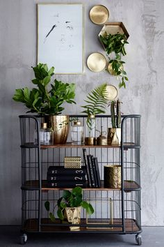 Vogn i industriell design med tre brede hyller. Anvendelig og pent f eks på… Interior Styling, Interior Decorating, Small Space Interior Design, Regal Design, Deco Boheme, Living Room Colors, Home Decor Inspiration, Interior Design Living Room, Sweet Home
