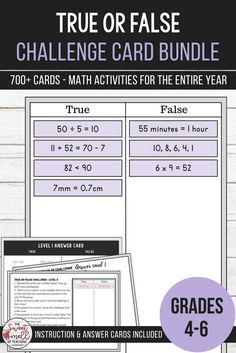 Develop mathematical understanding with these true or false challenge card sets. Activities require students to work out whether the statements displayed on challenge cards are correct. If they believe them to be correct, they place the cards under true. If incorrect, they place the cards under false. Areas of practice include #multiplication, #fractions, #decimals, #percents, #equivalence, #numberpatterns #convertingtime #convertingmeasurements and more. #mathcentergames…