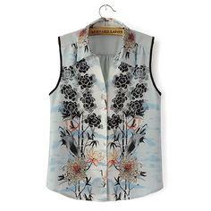 Vintage floral print blouses
