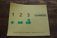 "Sample craft for ""1, 2, 3, Charge! Stamping"" 3-5s, Week 2"