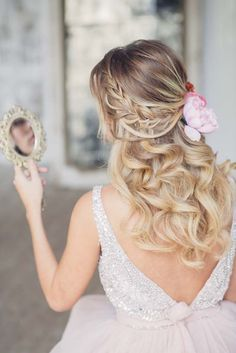 half up half down wedding hairstyle with pink flowers 2 via antonina roman - Deer Pearl Flowers / http://www.deerpearlflowers.com/wedding-hairstyle-inspiration/half-up-half-down-wedding-hairstyle-with-pink-flowers-2-via-antonina-roman/