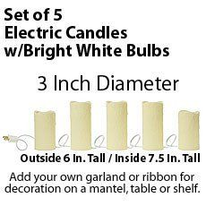 5 Piece Electric Pillar Candle Set - 3 Inch Diameter Ivory by Raz. $64.95. 5 Piece Durable Electric String Light Candles with Solid White Bulb set will be perfect for your mantel, holiday display or dining table centerpiece. The 5 candles each are 3 inches in diameter and have a melted edge look with authentic looking drippings down the side. The first and last candle are 6 inches high and the remaining 3 middle candles are 7.5 inches tall. When you stretch the cand...