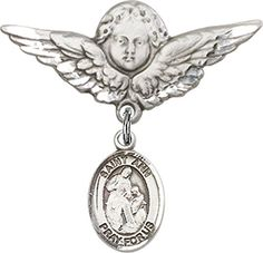Sterling Silver Baby Badge with St Ann Charm and Angel wWings Badge Pin -- See this great product.