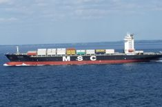 MSC MANU, Container vessel of Mediterranean Shipping Company in Baltic sea on her way to west Europe