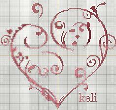 Beaucoup de coeurs Cross Stitch Designs, Cross Stitch Patterns, Crochet Patterns, Cross Stitching, Cross Stitch Embroidery, Stitch Delight, Cross Stitch Heart, Valentines Day Decorations, Le Point