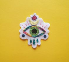 Hand embroidered evil eye felt sew on patch. Handmade Clothes, Diy Clothes, Handmade Gifts, Sew On Patches, Evil Eye, Felt, Jewellery, Sewing, Trending Outfits