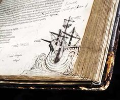 Page of a book showing elaborate ship sketch by John Dee
