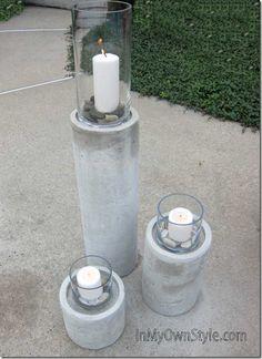 DIY Betonsäulen mit Windlichtern