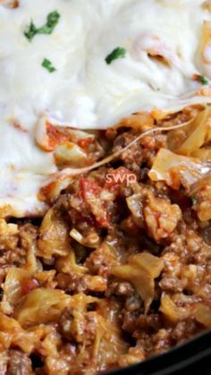Crock Pot Cabbage Roll Casserole Recipe ~ so much quicker than rolling up the rolls themselves and equally delicious!