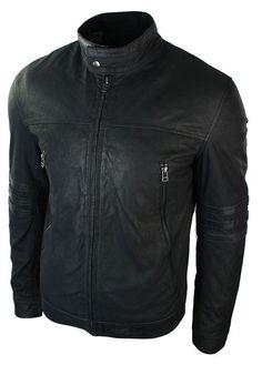 Mens Biker Black Vintage Real Leather Jacket X-Men Origins Wolverine Logan