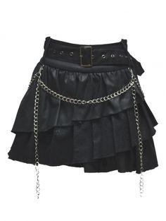 Black Gothic Punk Short Skirt - Devilnight.co.uk