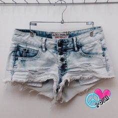 Hot Kiss Light-wash Destroyed Denim Shorts ❤️ Hot Kiss CiCi Short Light-wash Destroyed Denim Shorts ❤️ Size 0 or 26'W by 2' Inseam ❤️ Mid-Waisted w/ Button up Fly & Frayed Hem ✌️Perfect Condition ✌ NO TRADE ☮ PRICE IS FIRM UNLESS BUNDLED ☮ Hot Kiss Shorts Jean Shorts