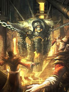 Three wizards and Iron Golem. I love how the golem looks like a mecha. Also, this could be a ZZ Top album cover. Art by Andrew Hou.