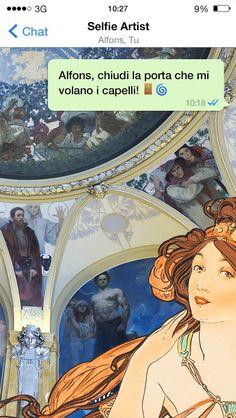 Selfie artist dedicato a Alfons Maria Mucha (Ivančice, 24 luglio 1860 – Praga, 14 luglio 1939) #selfie #arte #selfieartist #mucha #music #praga #chat #whatsapp #social #socialnetwork #fotografia #museumselfie