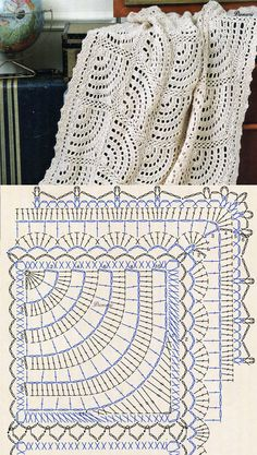 Crochet Bedspread Patterns Part 17 - Beautiful Crochet Patterns and Knitting Patterns Filet Crochet, Beau Crochet, Crochet Diy, Crochet Diagram, Crochet Chart, Crochet Home, Crochet Motif, Crochet Doilies, Diagram Chart