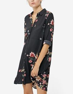 Printed shirt dress with 3/4 length sleeves - Dresses | Stradivarius United Kingdom