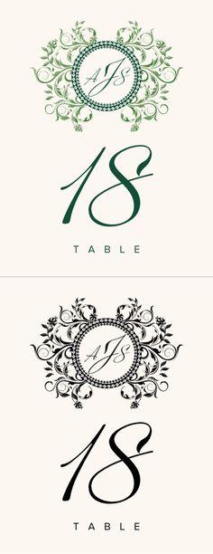 Gingee Vintage Monogram Wedding Table Numbers