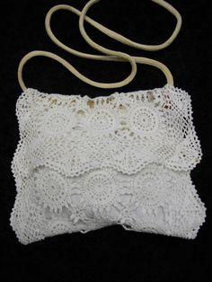 White summer hip bagwedding bag/unique bag/ lace by Endladesign, $45.00