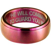 """Angels Watching Over You"" Pink Titanium Ring at The Breast Cancer Site"