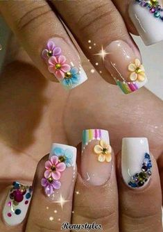 100 New patterns for your nails to talk about your personality - Reny styles 3d Nail Art, 3d Nails, Nail Arts, Cute Nails, Pretty Nails, Acrylic Nails, Jamberry Nails, Sculpted Nails, Crazy Nails