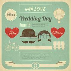 Invito a nozze in stile retrò Infografica. Vintage Design, formato quadrato. Illustrazione. Archivio Fotografico - 19218291