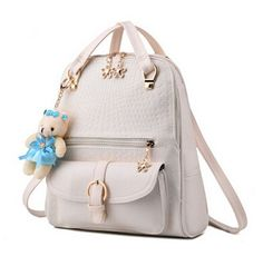 2016 New Women Backpacks Bolsas Mochila Leather Solid Candy Colors Girls School Bags Ladies Shoulder Bag Femme Sac A Dos Beige