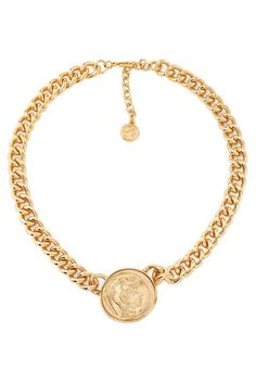 Shop on-sale Gold-tone necklace. Browse other discount designer Necklaces & more luxury fashion pieces at THE OUTNET Gold Choker Necklace, Gold Plated Necklace, Coin Jewelry, Jewelry Necklaces, Coin Bracelet, Bangle, Classic Engagement Rings, Valentino Bags, Kenneth Jay Lane
