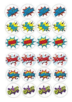 24 icing cupcake cake toppers edible mixed Super hero action words slang pow d2