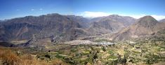 Panorama of Cotahuasi city with canyon & mountains in the background