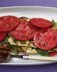 "Grilled Vegetable and Tofu ""Lasagna"" with Pesto. To save time, grill and assemble this layered no-bake ""lasagna"" beforehand, and then serve it chilled or at room temperature. Cheese lovers can replace the grilled tofu with slices of fresh mozzarella. Tofu Lasagna, Baked Lasagna, Zucchini Lasagne, Pesto Lasagna, Turkey Lasagna, Cheese Lasagna, Vegan Zucchini, Grilled Tofu, Grilled Vegetables"