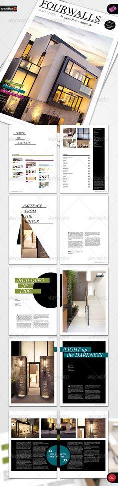 Book & Brochure - Fourwalls Magazine - GraphicRiver Item for Sale