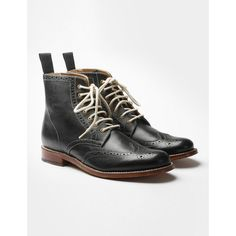 Womens Grenson Ella Brogue Boots - Black ($305) ❤ liked on Polyvore featuring shoes, boots, black, genuine leather boots, wingtip boots, black brogue boots, grenson boots and black oxford shoes
