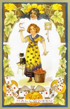 A young girl all dressed up in here Halloween dress stands next to a basket of apples with her black cat sitting on a stool next to her. She is surrounded by grape leaves and a deck of cards. A clock is hanging on the wall just over her shoulder and a bat sits on a pumpkin, jack-o-lantern at her feet.   This image would be great for a combination of Halloween cards and a poster to hang on your wall. And don't forget to look at the t-shirts, cell phone covers, tote bags and other great…