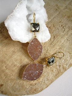 Pyrite Druzy Earrings Druzy Drusy Quartz Leaf by julianneblumlo