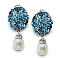 Sterling Silver Earrings, Cultured Freshwater Pearl (7mm x 9mm) and Blue Topaz Drop Earrings (4-3/8 ct. t.w.) via: null