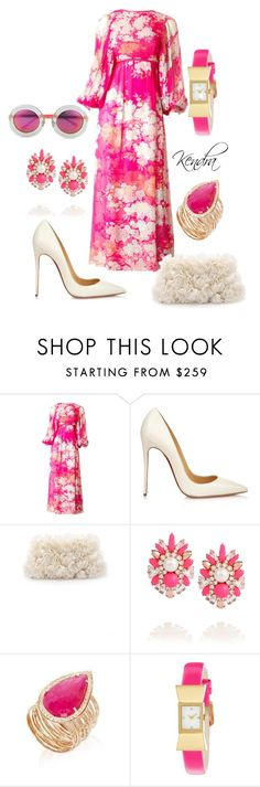 """""""Hot Pink Vintage Dress"""" by kmariestyles ❤ liked on Polyvore featuring Hanae Mori, Christian Louboutin, Kate Spade, Shourouk, Jacquie Aiche, Markus Lupfer and vintage"""