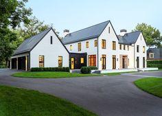 Custom homebuilders John Kraemer & Sons built this gorgeous Belgian Modern styled home in Edina, Minnesota. Farmhouse Architecture, Modern Farmhouse Exterior, Modern Style Homes, New Home Construction, Dream House Exterior, Transitional House, Abandoned Houses, Exterior Design, Future House